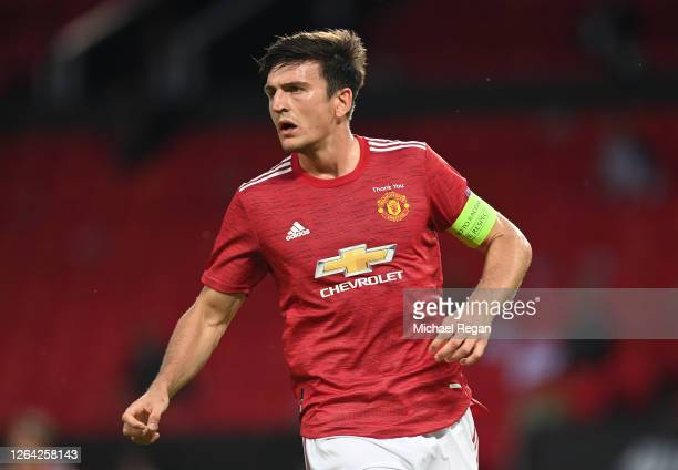 Harry Maguire of Manchester United in action during the UEFA Europa League round of 16 second leg match between Manchester United and LASK at Old...