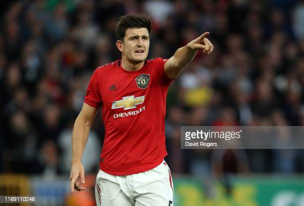 Harry Maguire of Manchester United issues instructions during the Premier League match between Wolverhampton Wanderers and Manchester United at...
