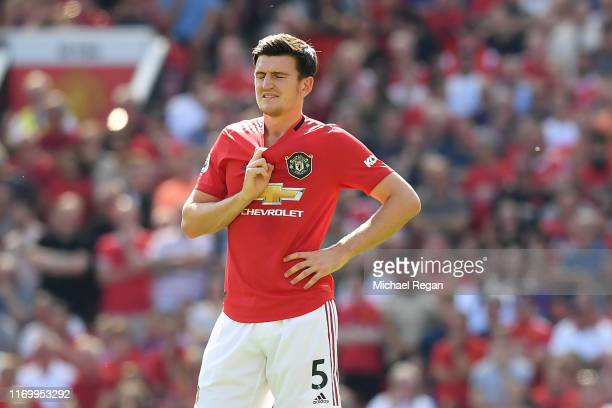 Harry Maguire of Manchester United looks dejected during the Premier League match between Manchester United and Crystal Palace at Old Trafford on...