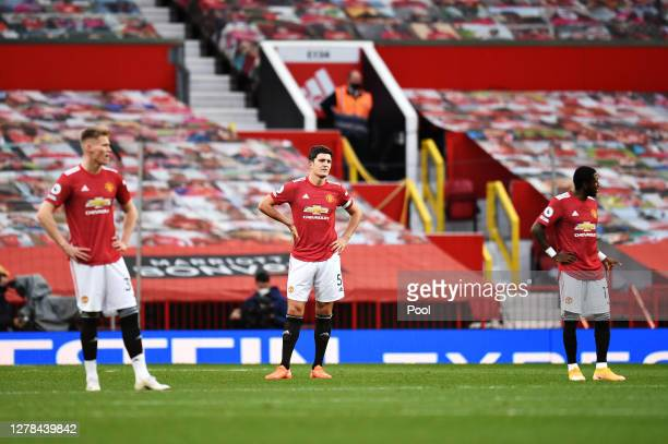 Harry Maguire of Manchester United looks dejected during the Premier League match between Manchester United and Tottenham Hotspur at Old Trafford on...
