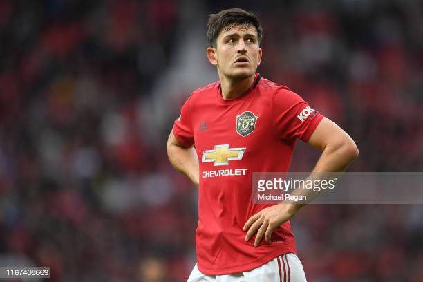 Harry Maguire of Manchester United looks on during the Premier League match between Manchester United and Chelsea FC at Old Trafford on August 11...