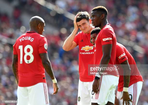 Harry Maguire of Manchester United reacts during the Premier League match between Manchester United and Crystal Palace at Old Trafford on August 24...