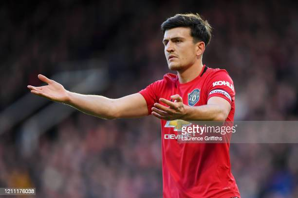Harry Maguire of Manchester United reacts during the Premier League match between Manchester United and Manchester City at Old Trafford on March 08,...
