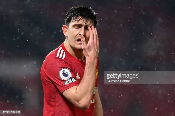 Harry Maguire of Manchester United reacts during the Premier League match between Manchester United and Sheffield United at Old Trafford on January...