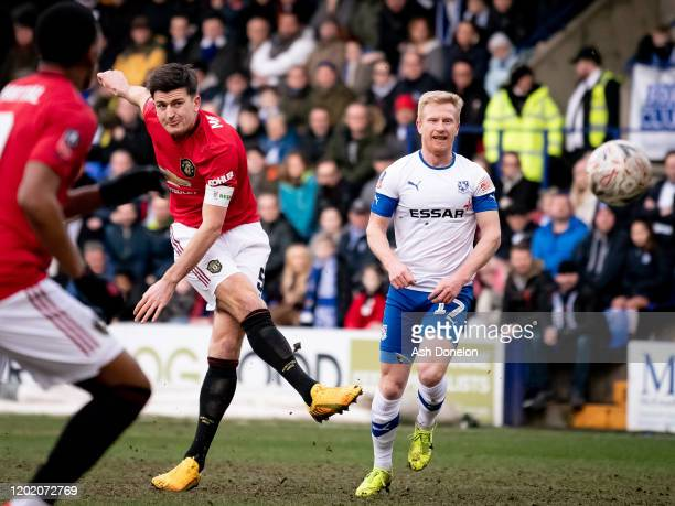 Harry Maguire of Manchester United scores their first goal during the FA Cup Fourth Round match between Tranmere Rovers and Manchester United at...