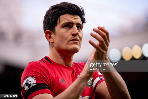 Harry Maguire of Manchester United walks off after the Premier League match between Manchester United and Watford FC at Old Trafford on February 23...