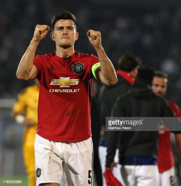 Harry Maguire of Manchester United walks off after the UEFA Europa League group L match between Partizan and Manchester United at Partizan Stadium on...