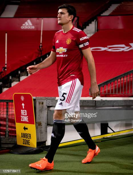 Harry Maguire of Manchester United walks out to the pitch prior to the Premier League match between Manchester United and West Bromwich Albion at Old...
