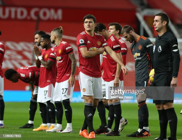 Harry Maguire of Manchester United walks out up ahead of the Premier League match between Manchester United and West Bromwich Albion at Old Trafford...