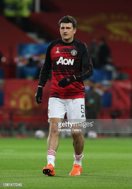 Harry Maguire of Manchester United warms up ahead of the UEFA Champions League Group H stage match between Manchester United and İstanbul Basaksehir...
