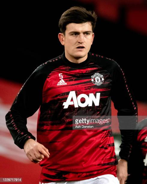Harry Maguire of Manchester United warms up prior to the Premier League match between Manchester United and West Bromwich Albion at Old Trafford on...