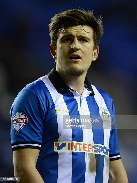 Harry Maguire of Wigan Athletic during the Sky Bet Championship match between Wigan Athletic and Cardiff City at DW Stadium on February 24 2015 in...