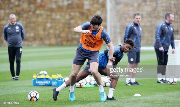 Harry Maguire under pressure from Demarai Gray during the Leicester City training session at the Marbella Soccer Camp Complex on March 14 2018 in...