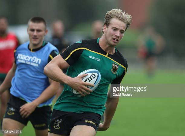Harry Mallinder breaks with the ball during the Northampton Saints training session held at Franklin's Gardens on September 11 2018 in Northampton...