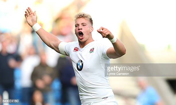 Harry Mallinder of England celebrates scoring a try during the World Rugby U20 Championship Final Match between England and Ireland at the AJ Bell...