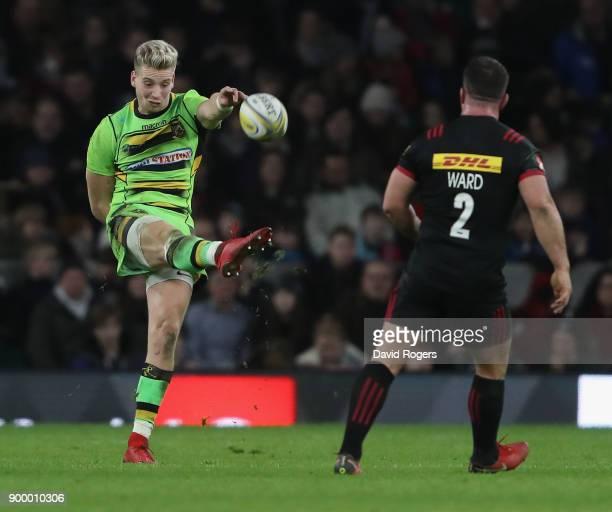 Harry Mallinder of Northampton kicks the ball upfield during the Aviva Premiership Big Game 10 match between Harlequins and Northampton Saints at...