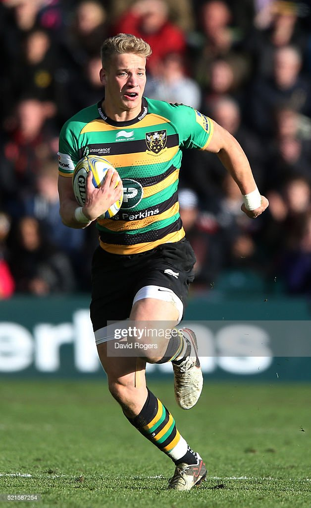 Harry Mallinder of Northampton runs with the ball during the Aviva Premiership match between Northampton Saints and Leicester Tigers at Franklin's Gardens on April 16, 2016 in Northampton, England.