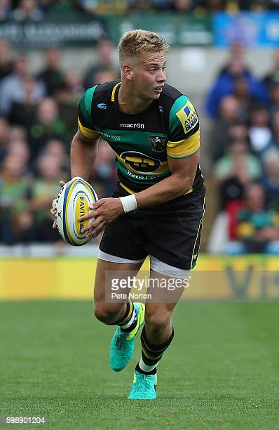 Harry Mallinder of Northampton Saiants in action during the Aviva Premiership match between Northampton Saints and Bath at Franklin's Gardens on...