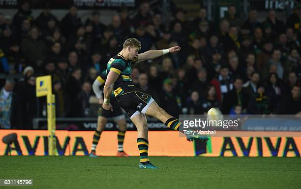 Harry Mallinder of Northampton Saints kicks during the Aviva Premiership match between Northampton Saints and Bristol Rugby at Franklin's Gardens on...