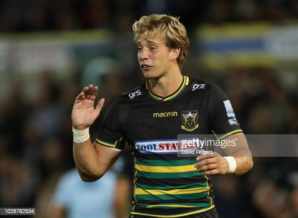 Harry Mallinder of Northampton Saints looks on during the Gallagher Premiership Rugby match between Northampton Saints and Harlequins at Franklin's...