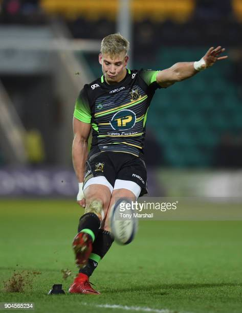 Harry Mallinder of Northampton Saints takes a conversion kick during the European Rugby Champions Cup match between Northampton Saints and ASM...