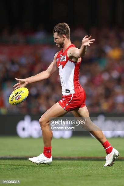 Harry Marsh of the Swans kicks during the round five AFL match between the Sydney Swans and the Adelaide Crows at Sydney Cricket Ground on April 20...