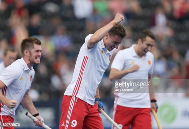 Harry Martin of England celebrates scoring their teams first goal during the 3rd/4th place match between Malaysia and England on day nine of the Hero...