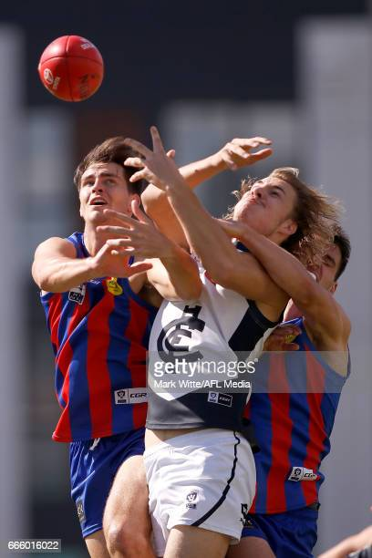 Harry McKay of Northern Blues goes for a mark during the round one VFL match between Port Melbourne and Northern Blues at North Port Oval on April 8,...
