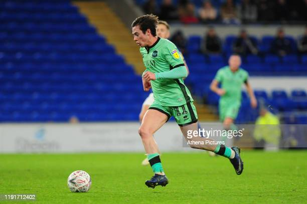Harry McKirdy of Carlisle United in action during the FA Cup third round match between Cardiff City and Carlisle United at the Cardiff City Stadium...