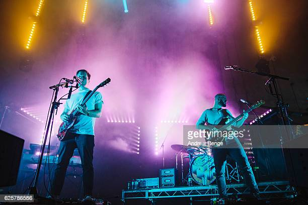 Harry McVeigh Charles Cave and Jack LawrenceBrown of White Lies performs at Albert Hall on November 25 2016 in Manchester England