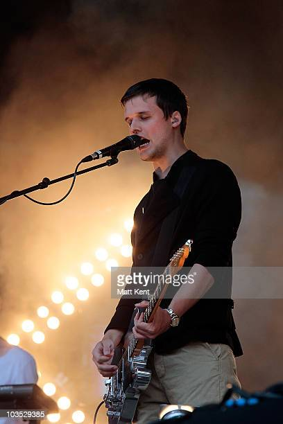 Harry McVeigh of White Lies perform at day one of V Festival at Hylands Park on August 21 2010 in Chelmsford England