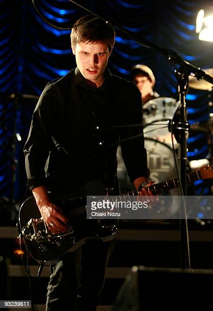 Harry McVeigh of White Lies performs at Brixton Academy on November 19 2009 in London England