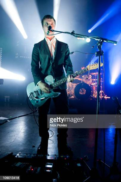 Harry McVeigh of 'White Lies' performs at Shepherds Bush Empire on February 11 2011 in London England