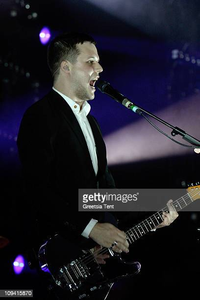 Harry McVeigh of White Lies performs live at Heineken Music Hall on February 24 2011 in Amsterdam Netherlands
