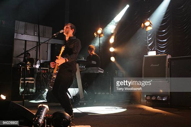 Harry McVeigh of White Lies performs live on December 5 2009 in Birmingham England