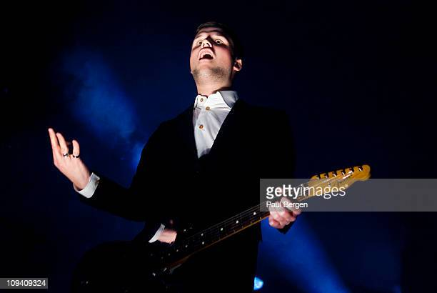 Harry McVeigh of White Lies performs on stage at Heineken Music Hall on February 24 2011 in Amsterdam Netherlands
