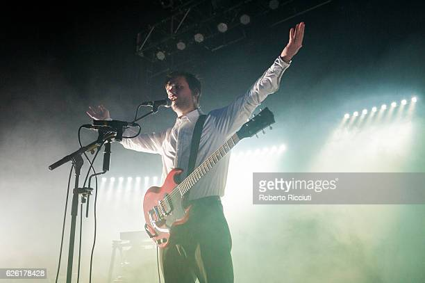 Harry McVeigh of White Lies performs on stage at O2 ABC Glasgow on November 27 2016 in Glasgow Scotland