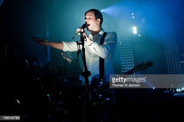 Harry McVeigh of White Lies performs on stage at O2 Academy on February 17, 2011 in Newcastle upon Tyne, England.