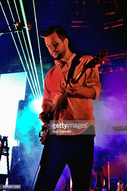 Harry McVeigh of White Lies performs on stage at The Roundhouse on December 10 2013 in London United Kingdom