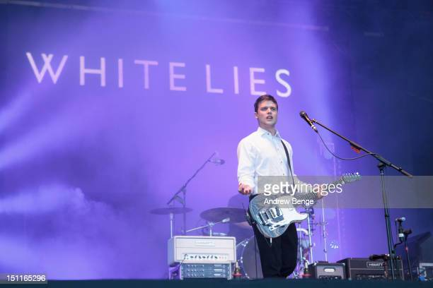 Harry McVeigh of White Lies performs on stage during Bingley Music Festival at Myrtle Park on September 2, 2012 in Bingley, United Kingdom.