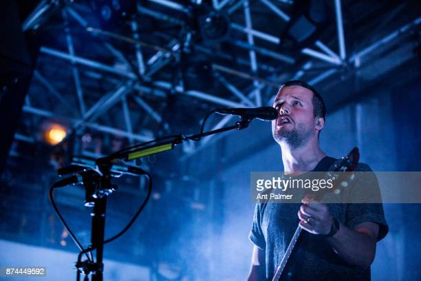 Harry McVeigh performs on stage with White Lies at Zakk Club on October 8 2017 in Düsseldorf Germany