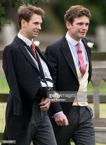 Harry Meade and James Meade attend the wedding of James Meade and Lady Laura Marsham at The Parish Church of St Nicholas in Gayton on September 14...