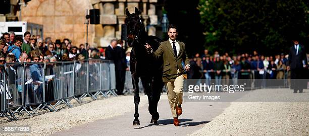 Harry Meade of Great Britain in action during the horse inspection before the show jumping at The Mitsubishi Motors Badminton Horse Trials in the...