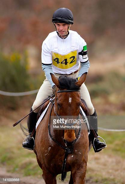Harry Meade warms up on his horse 'Easter Fable' prior to competing the cross country phase of the Tweseldown Horse Trials at Tweseldown Racecourse...