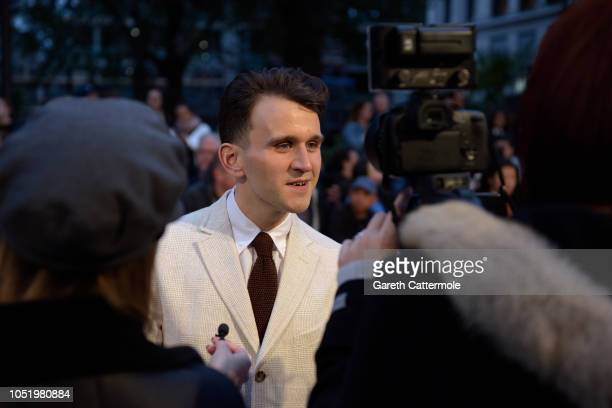 """Harry Melling being interviewed ahead of the UK Premiere of """"The Ballad of Buster Scruggs"""" & the American Airlines Gala during the 62nd BFI London..."""