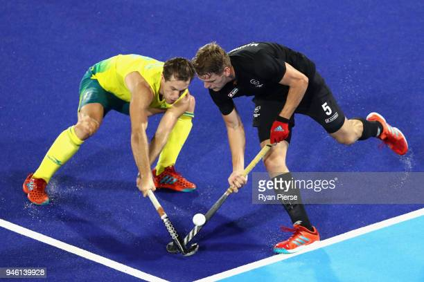 Harry Miskimmin of New Zealand and Dylan Wotherspoon of Australia in action in the Men's gold medal match between Australia and New Zealand during...