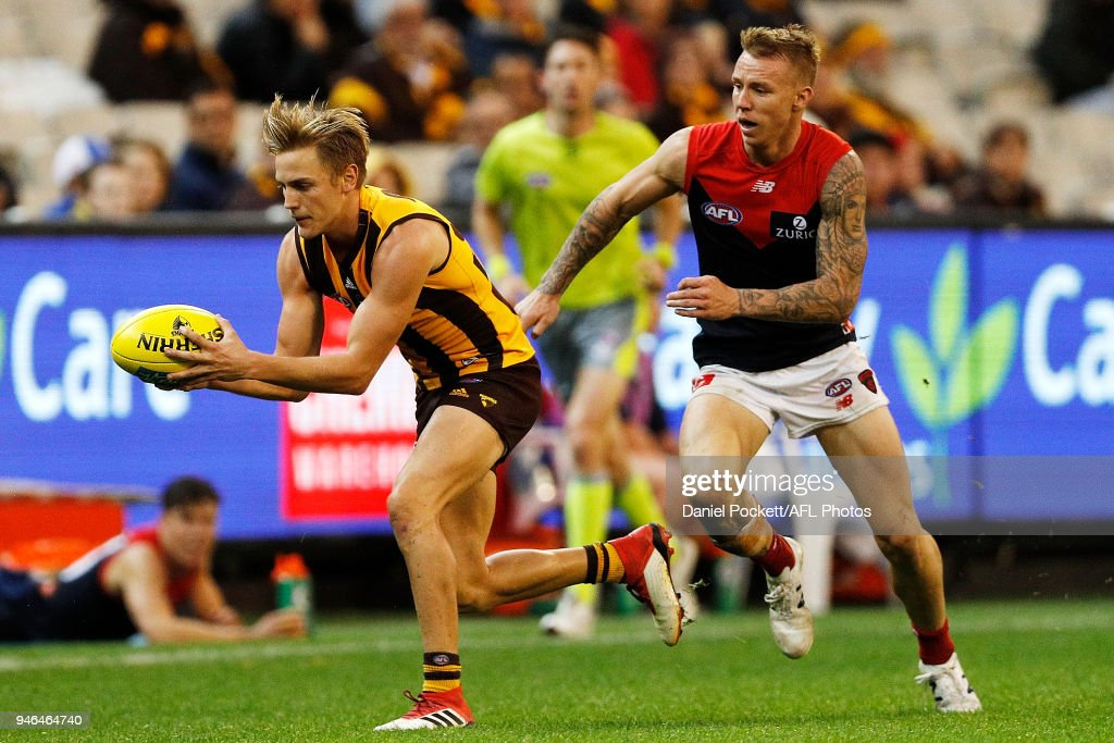 Harry Morrison of the Hawks marks the ball during the round four AFL match between the Hawthorn Hawks and the Melbourne Demons at Melbourne Cricket Ground on April 15, 2018 in Melbourne, Australia.