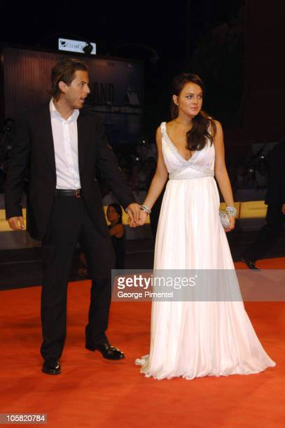 Harry Morton and Lindsay Lohan during The 63rd International Venice Film Festival Bobby Premiere Arrivals at Palazzo del Cinema in Venice Lido Italy