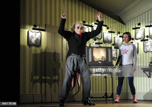 Harry Nicoll as Mr Bobo and Mary Bevan as Coraline in the Royal Opera's production of Mark Anthony Turnage's Coraline directed by Aletta Collins and...