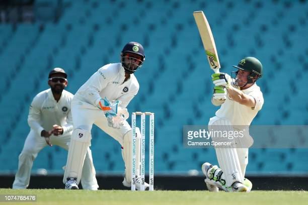 Harry Nielsen of Australia XI bats during day three of the International Four Day tour match between the Cricket Australia XI and India at Sydney...